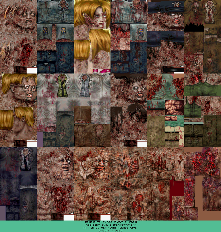 PlayStation - Resident Evil 3 - Zombies (3) - The Textures Resource
