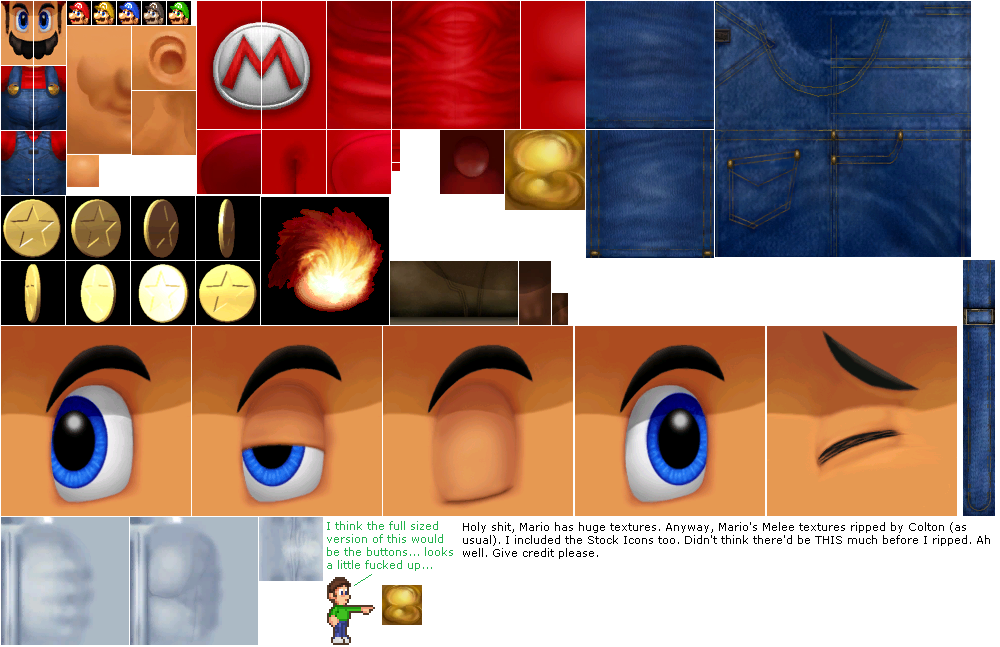 GameCube - Super Smash Bros  Melee - Mario - The Textures