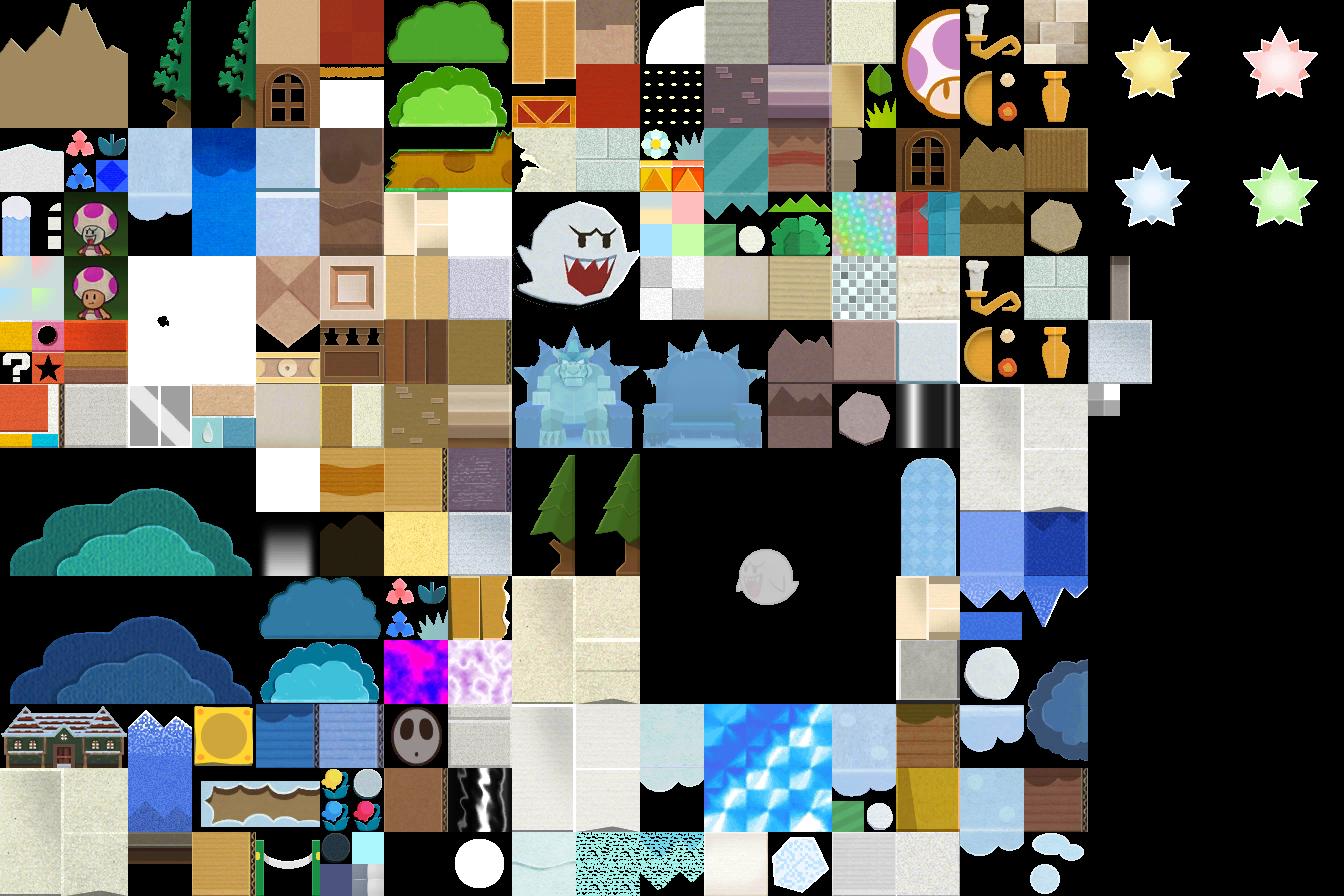3DS - Paper Mario: Sticker Star - World 4 - The Textures
