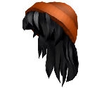 Orange Beanie with Black Hair