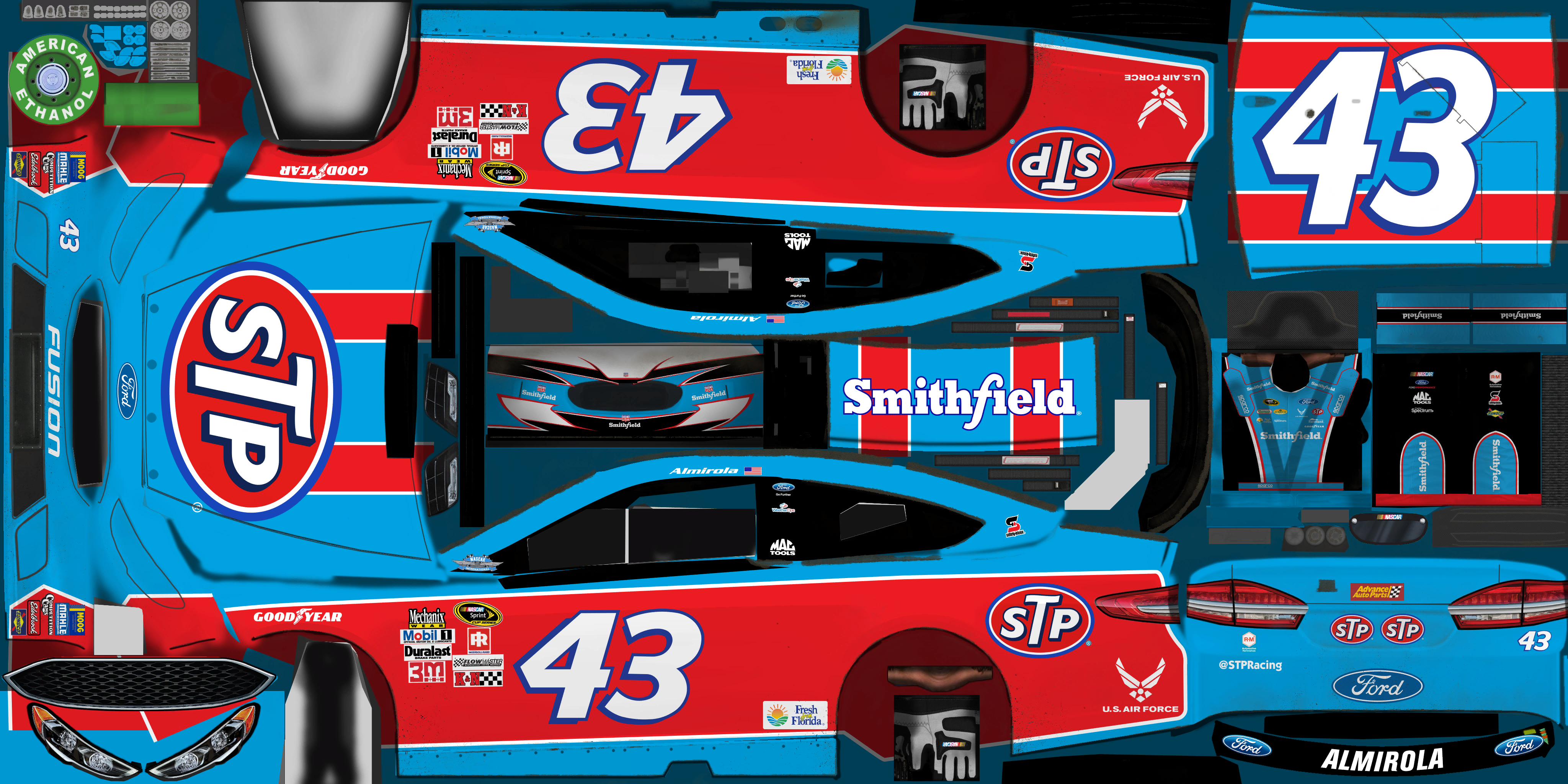 #43 Aric Almirola (STP Throwback)