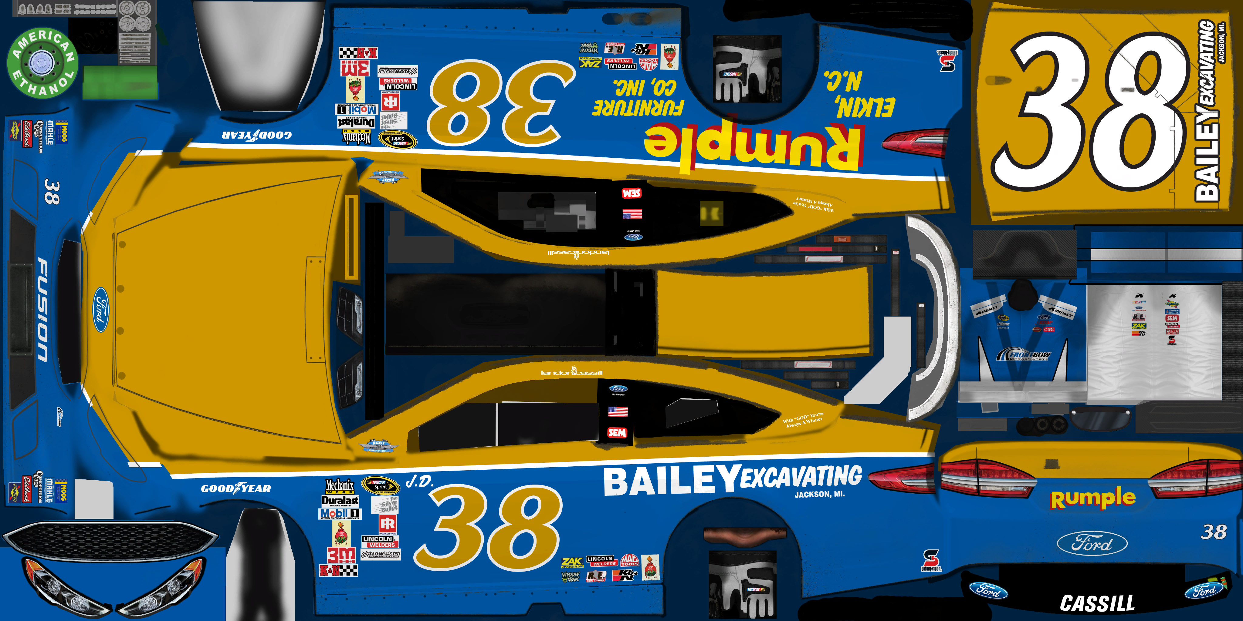 #38 Landon Cassill (Rumple Furniture/Bailey Excavating Throwback)