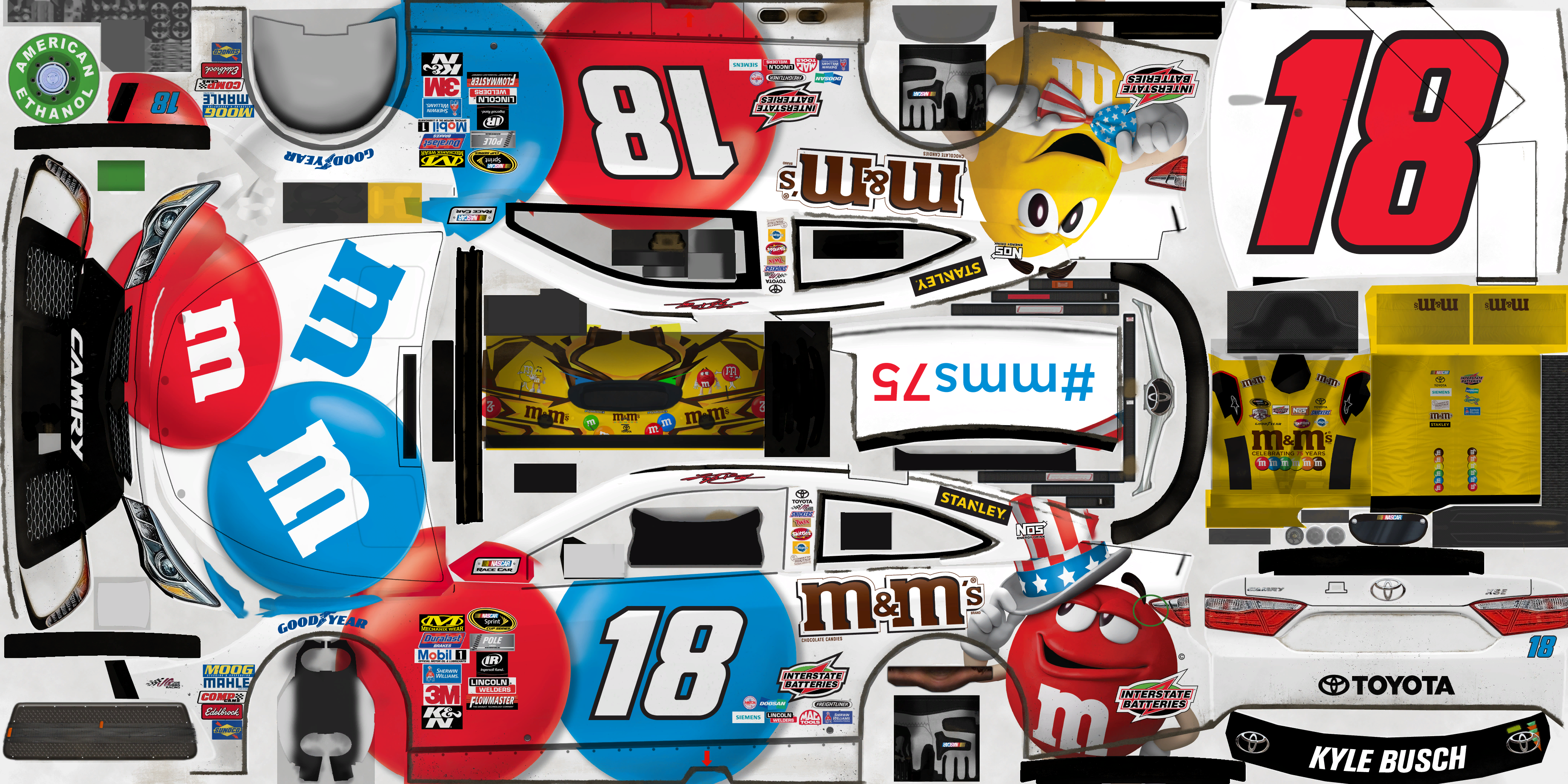 #18 Kyle Busch (M&M'S Red White and Blue)